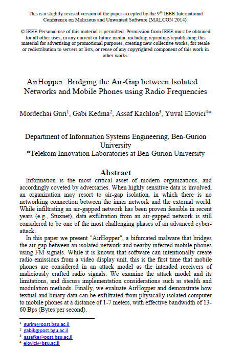 AirHopper Bridging the Air-Gap between Isolated Networks and Mobile Phones using Radio Frequencies